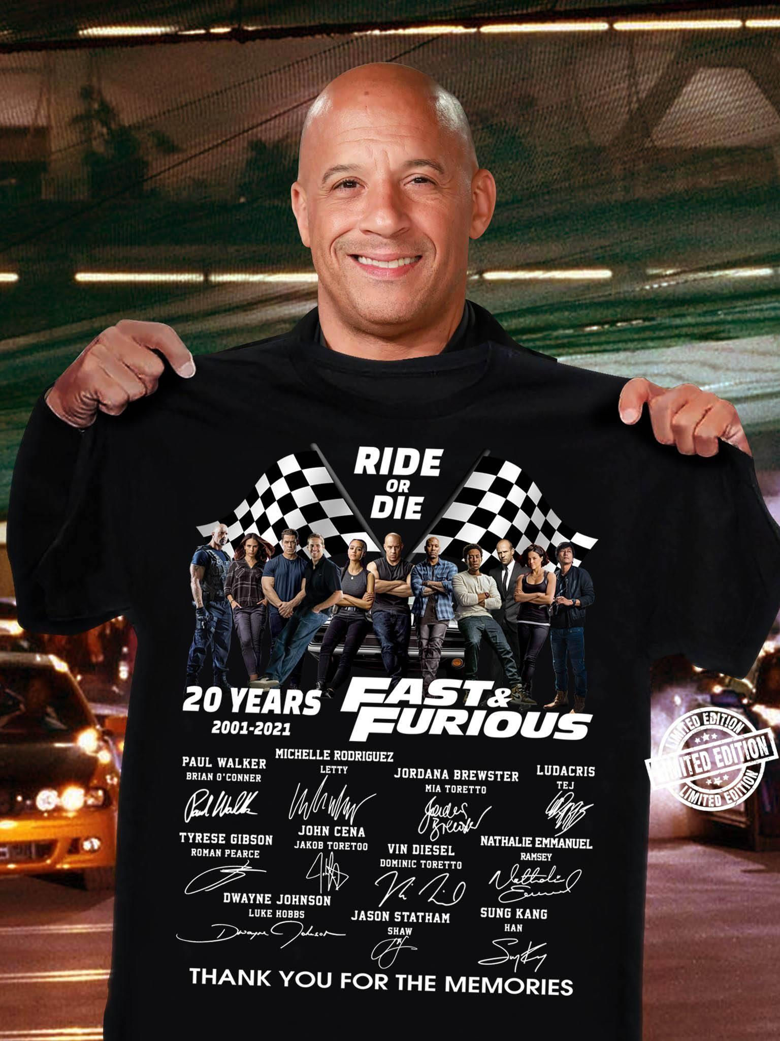 20 years fast and furious 2001-2021 all signature shirt
