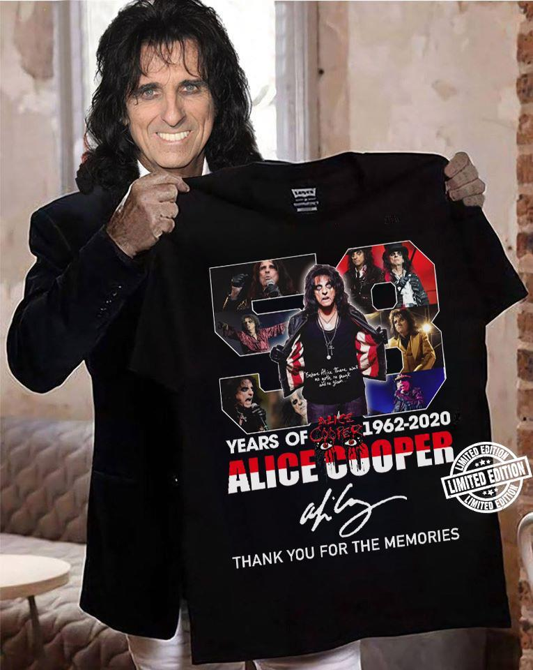 58 years of 1962-2020 alice cooper thank you for the memories shirt