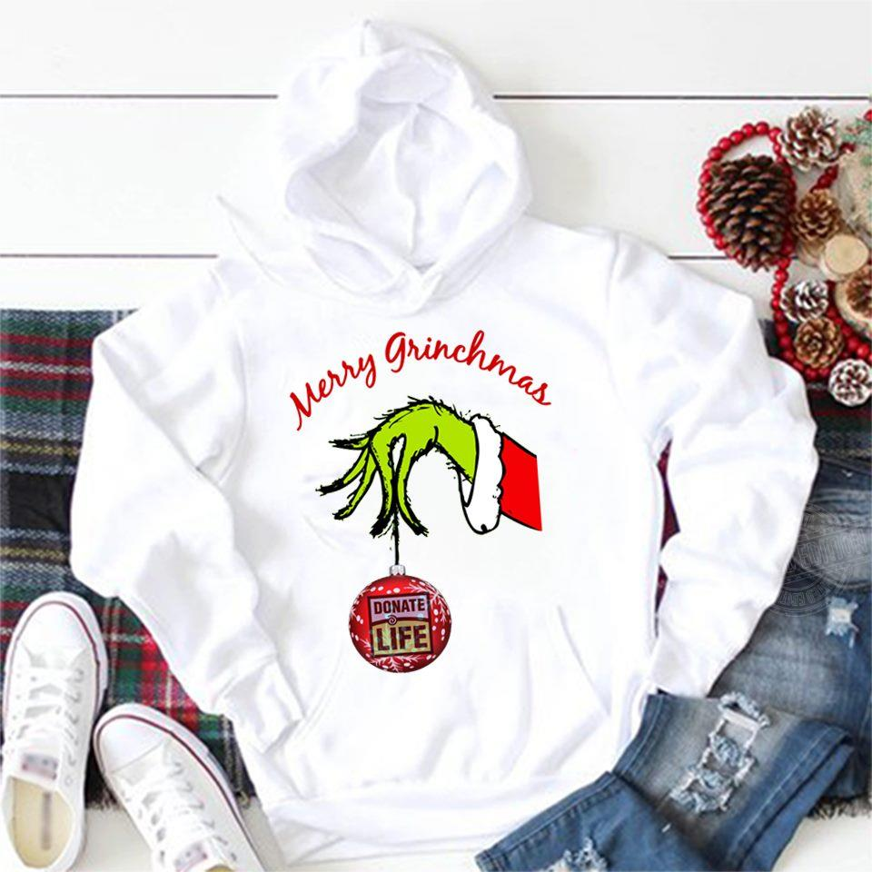 Merry Grinchmas Grinch Hand Holding Donate Life Shirt