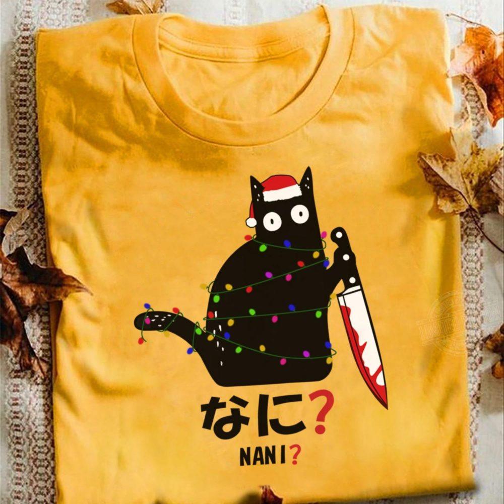 Murderous Black Cat Santa Knife Nani Christmas Shirt