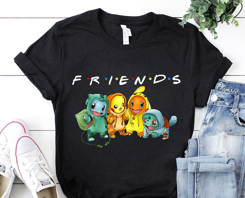 Pikachu Bulbasaur Charmander Uzi Pokemon Friends TV Show Shirt