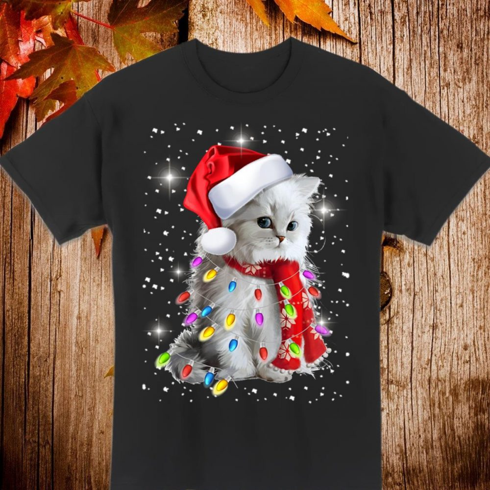 Santa and cat Christmas light Shirt
