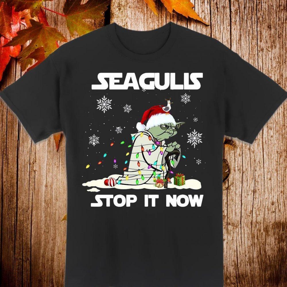 Star Wars Yoda Santa Seagulls Stop It Now Christmas Shirt