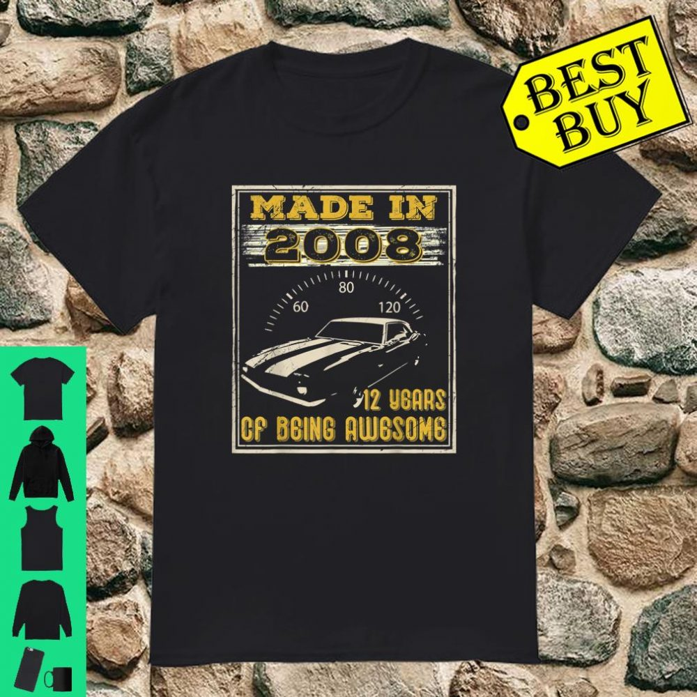 Vintage Made In 2008 12nd Birthday 12 Years Shirt